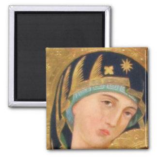 Orthodox ICON Serene Madonna 2 Inch Square Magnet