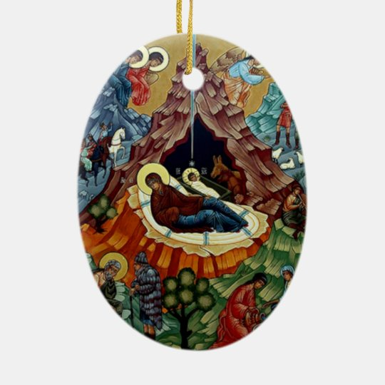 Color Your Own Religious Christmas Ornaments: Orthodox Nativity Icon Christmas Ornament