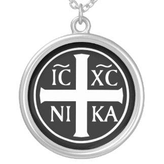 Orthodox Religious Icon ICXC NIKA Christogram Round Pendant Necklace