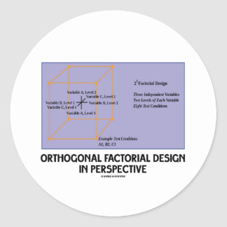 Orthogonal Factorial Design In Perspective Classic Round Sticker