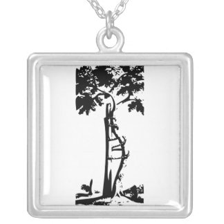 Orthopedic Crooked Tree Square Pendant Necklace