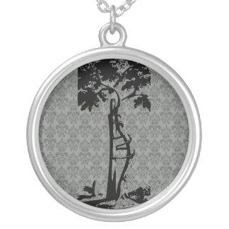 Orthopedic Crooked Tree on Light Damask Round Pendant Necklace