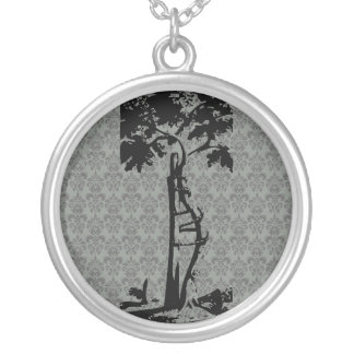 Orthopedic Crooked Tree on Light Damask Silver Plated Necklace