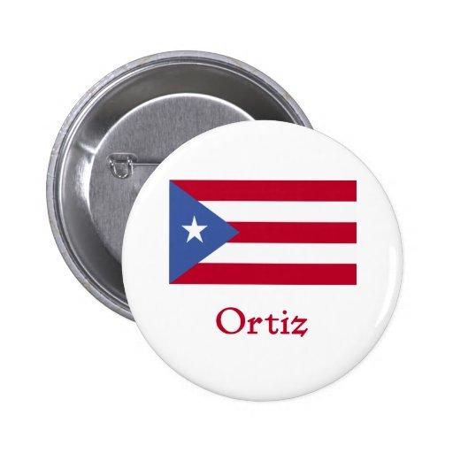 Ortiz Puerto Rican Flag Button