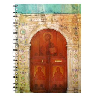 Ortodoxo griego del Jesucristo de la puerta Libros De Apuntes Con Espiral