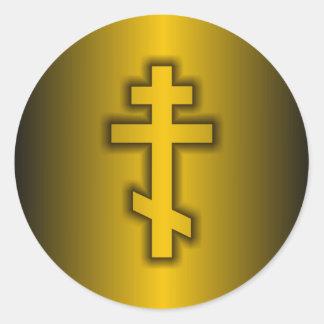 Ortodoxo ruso pegatina redonda