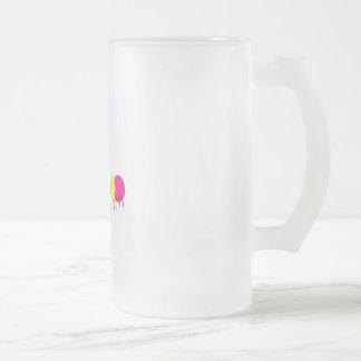 oruga amarilla rosada taza de cristal