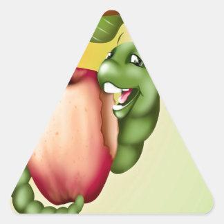 oruga feliz pegatina triangular