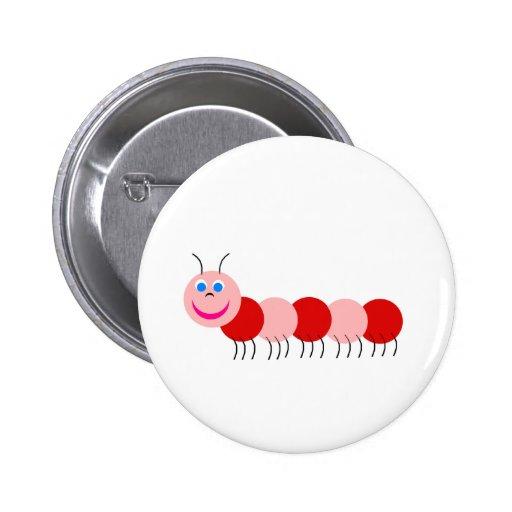 oruga roja pin redondo 5 cm