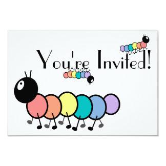 Orugas lindas del dibujo animado invitación 8,9 x 12,7 cm