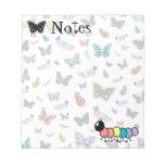 Orugas y mariposas lindas del dibujo animado bloc de papel