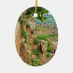 Orvieto Battlement Double-Sided Oval Ceramic Christmas Ornament