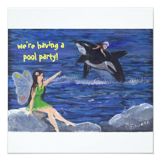 "Orville the Orca""s  Pool Party Card"