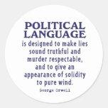 Orwell en lengua política etiquetas redondas