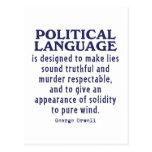 Orwell en lengua política tarjeta postal
