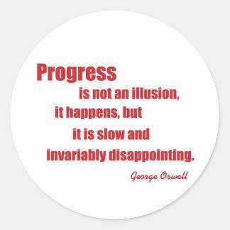 Orwell en progreso pegatina redonda