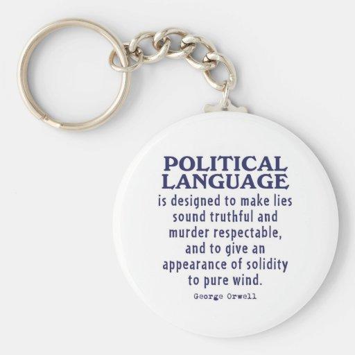 Orwell on Political Language Basic Round Button Keychain
