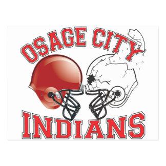 Osage City Indians Crashing Helmets Postcard