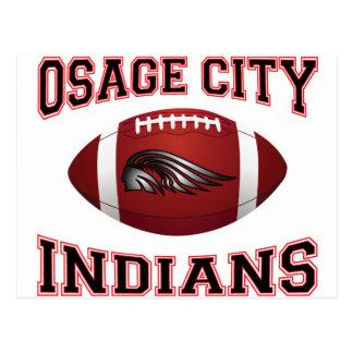 Osage City Indians Tribal Football Postcard