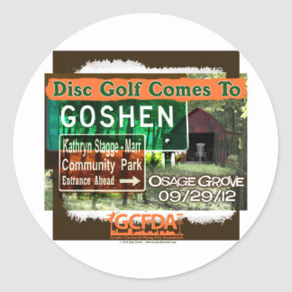 Osage Grove Goshen Disc Golf Grand Opening Round Stickers
