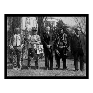 Osage Indians and President Coolidge 1925 Print
