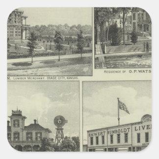 Osage Mound and Burlington Kansas Square Sticker