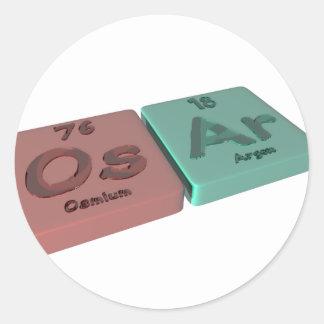 Osar as Os Osmium and Ar Argon Classic Round Sticker