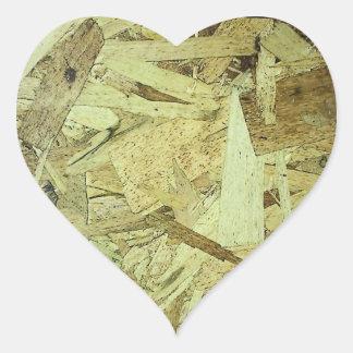 OSB Chip Board Plywood Heart Sticker