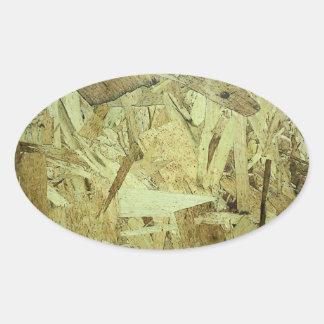 OSB Chip Board Plywood Oval Sticker