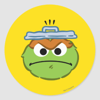 Oscar Angry Face Classic Round Sticker