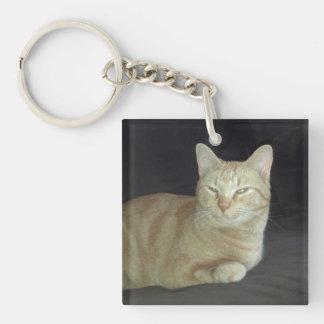 Oscar Cat Portrait Keychain Square Acrylic Keychains