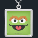"""Oscar Face Art Silver Plated Necklace<br><div class=""""desc"""">Whose face is this? It&#39;s the face art of Oscar the Grouch!        This item is recommended for ages 13 . &#169;  2014 Sesame Workshop. www.sesamestreet.org</div>"""