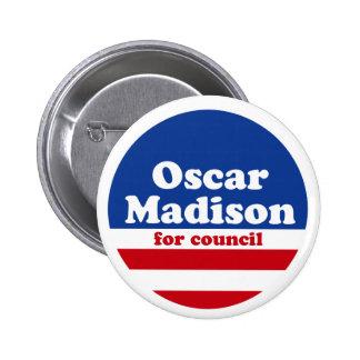 Óscar Madison para el botón de la campaña del cons Pins