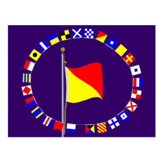 Oscar Man Overboard Nautical Signal Flag Postcards