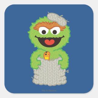 Óscar que las lanas del Grouch diseñan Pegatina Cuadrada