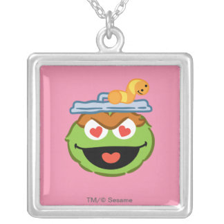 Oscar Smiling Face with Heart-Shaped Eyes Silver Plated Necklace