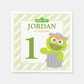 Oscar the Grouch Baby Birthday Paper Napkins