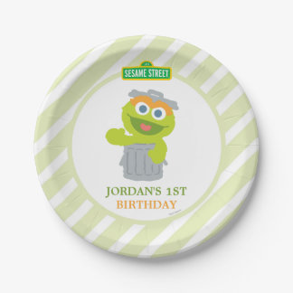 Oscar the Grouch Baby Birthday Paper Plate