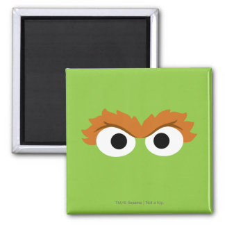Oscar the Grouch Big Face 2 Inch Square Magnet