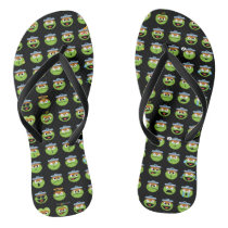 Oscar the Grouch Emoji Pattern Flip Flops