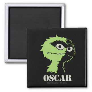 Oscar the Grouch Half 2 Inch Square Magnet
