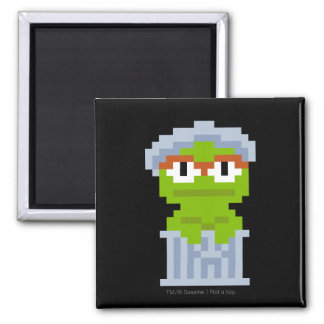 Oscar the Grouch Pixel Art 2 Inch Square Magnet