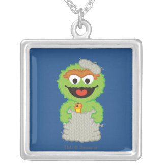 Oscar the Grouch Wool Style Silver Plated Necklace