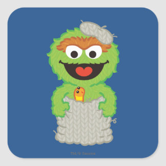 Oscar the Grouch Wool Style Square Sticker