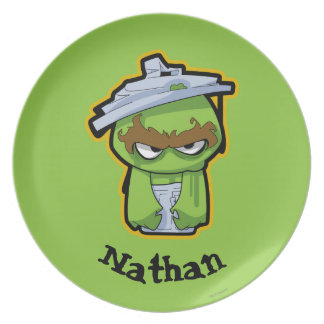Oscar the Grouch Zombie Party Plate