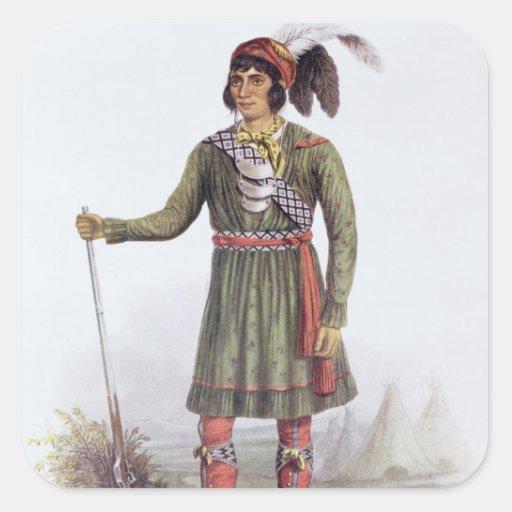 """Osceola o """"sol naciente"""", un líder del Seminole Calcomania Cuadradas Personalizada"""