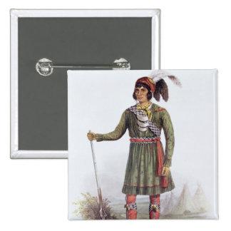 """Osceola o """"sol naciente"""", un líder del Seminole Pin Cuadrada 5 Cm"""
