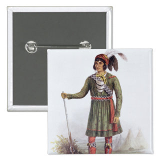 Osceola or 'Rising Sun', a Seminole Leader 2 Inch Square Button