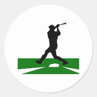 Oscilación de béisbol de la silueta etiquetas redondas