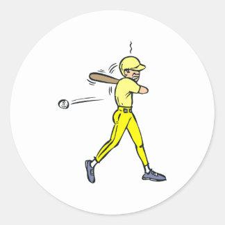 Oscilación de béisbol etiquetas redondas